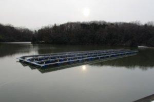完成したユニットを池の上で連結