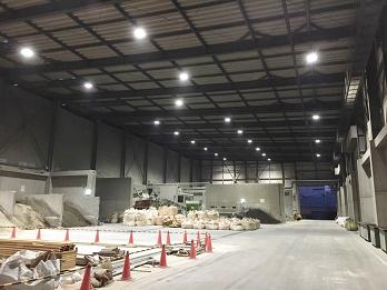 高天井LEDを導入した杯材木の廃棄処理工場
